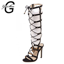Women Sandals High Heels Black Lace Up Gladiator Sandal Boots Open Toe Sexy Cut Outs Shoes Women Pumps