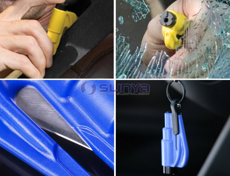 Promotion Logo Keychain Emergency Safety Hammer Escape Kit Seat Belt Cutter