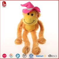 2015 hot sale gift yellow long arms and legs monkey plush toy China supplier
