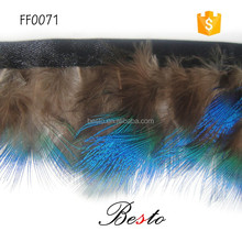 China factory handmade fabric trimming feathers wholesale dyed blue feather trimming