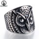 Punk 316L Stainless steel Pretty Owl Face Design Ring STOCK