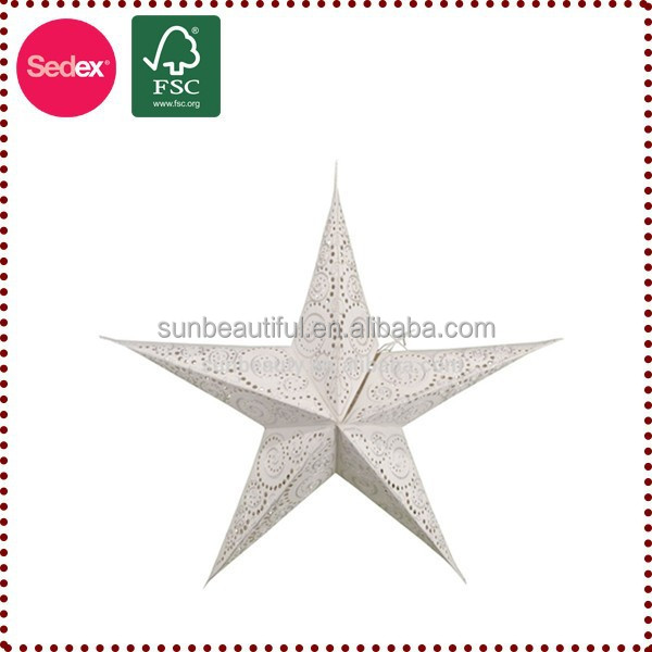 Hanging christmas paper stars for outdoor decoration