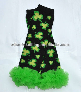Stripe Saint Patrick's Day ruffle leg warmers