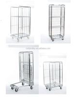 Roll container cage