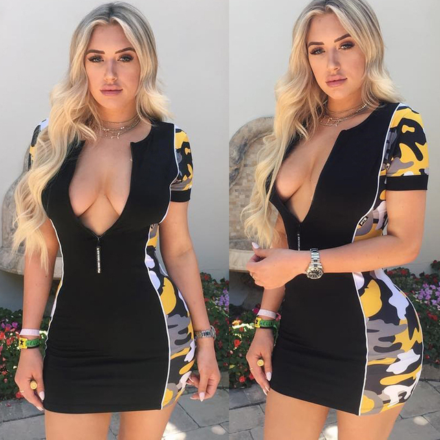 FS1139A 2018 Sexy women low cut bodycon camouflage printing dress