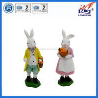 "Easter Bunny Rabbits Couple with Carrot 4.5"",Mr. and Mrs. Easter Bunny Rabbit with Carrots Spring Figure"