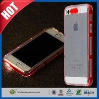 C&T Incoming Call LED Flash Hybrid Clear TPU Back PC Hard Frame Case For Apple iPhone 5
