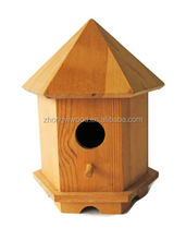 2016 wholesale vintage solid Unfinished Wooden Bird House with 6 sides