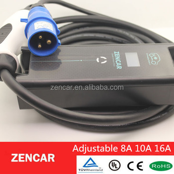 3 pins CEE iec62196 Type 2 ev plug 8A 10A 16A adjustable evse charger