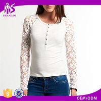 2016 Guangzhou Shandao OEM/ODM Custom Design Casual Long Lace Sleeve Round Neck Bodycon White Cotton Sexy Western Tops Ladies