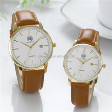 Plating gold case brown strap cute design gift set wrist watch for couples