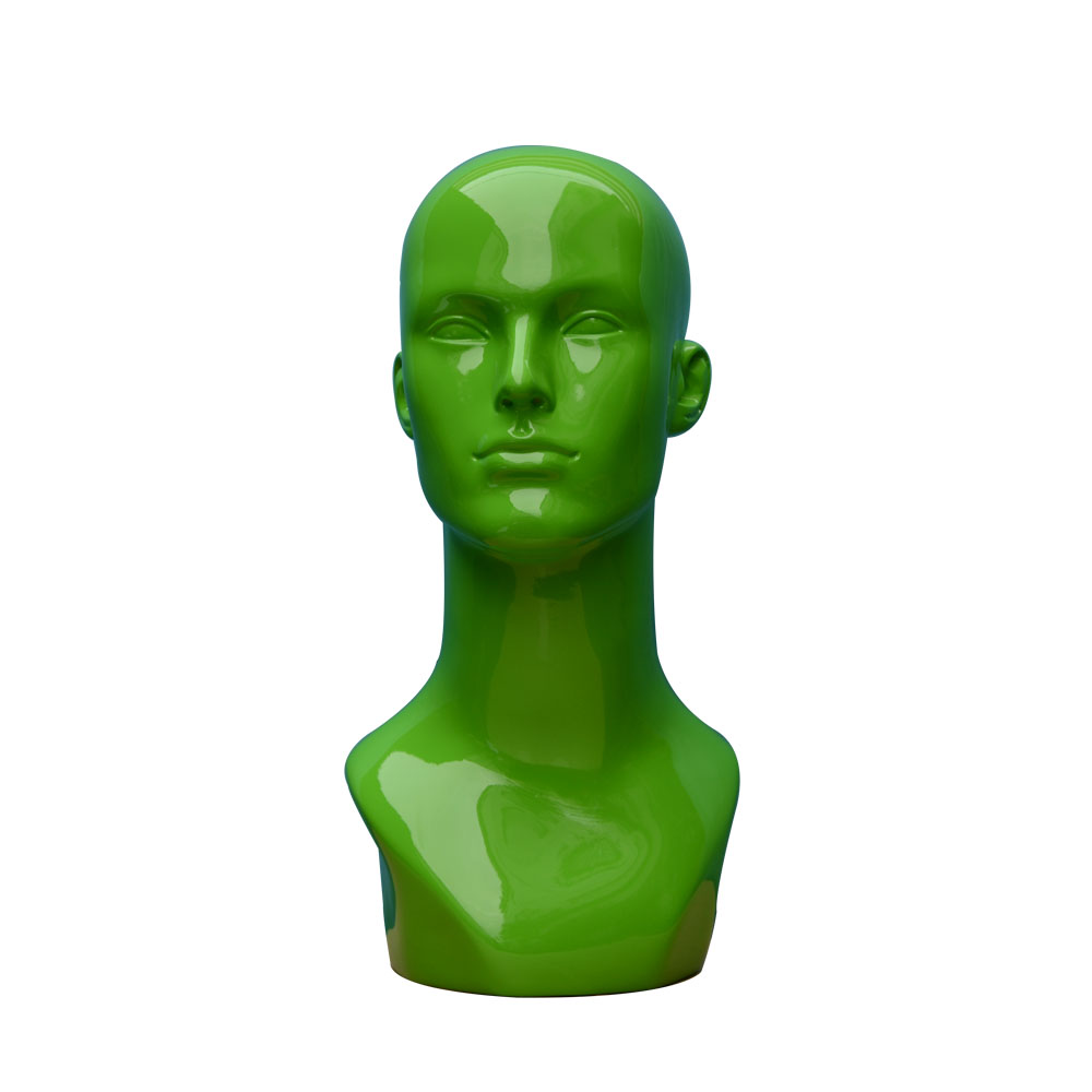 beautiful fiberglass green mannequin head for hats display