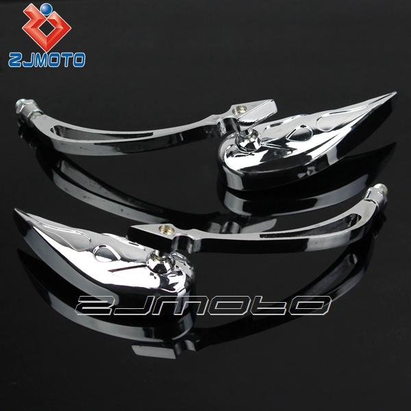 2X 8mm Universal Chrome Motorcycle Cruiser Teardrop Side Rear View Mirrors