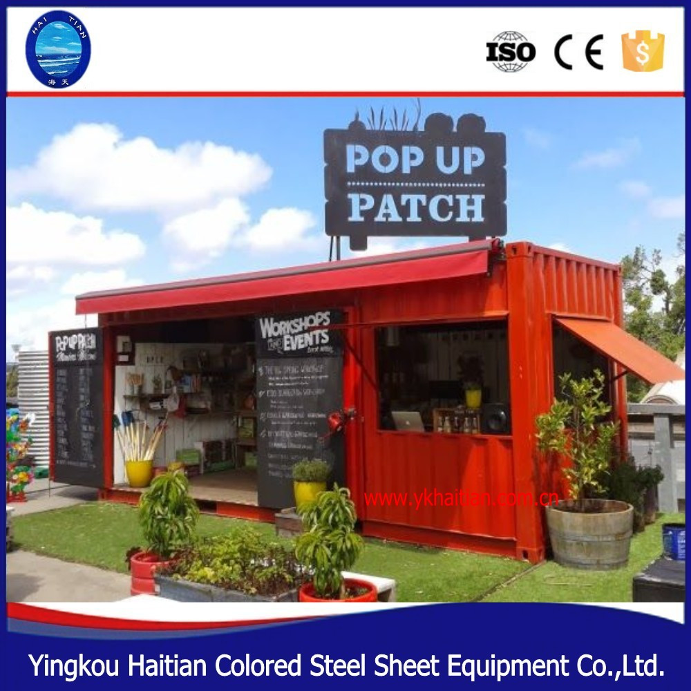 prefabricated restaurant container coffee shop kiosk 20ft cheap prefab homes for sale