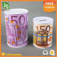 standard metal tin can money box round sizes