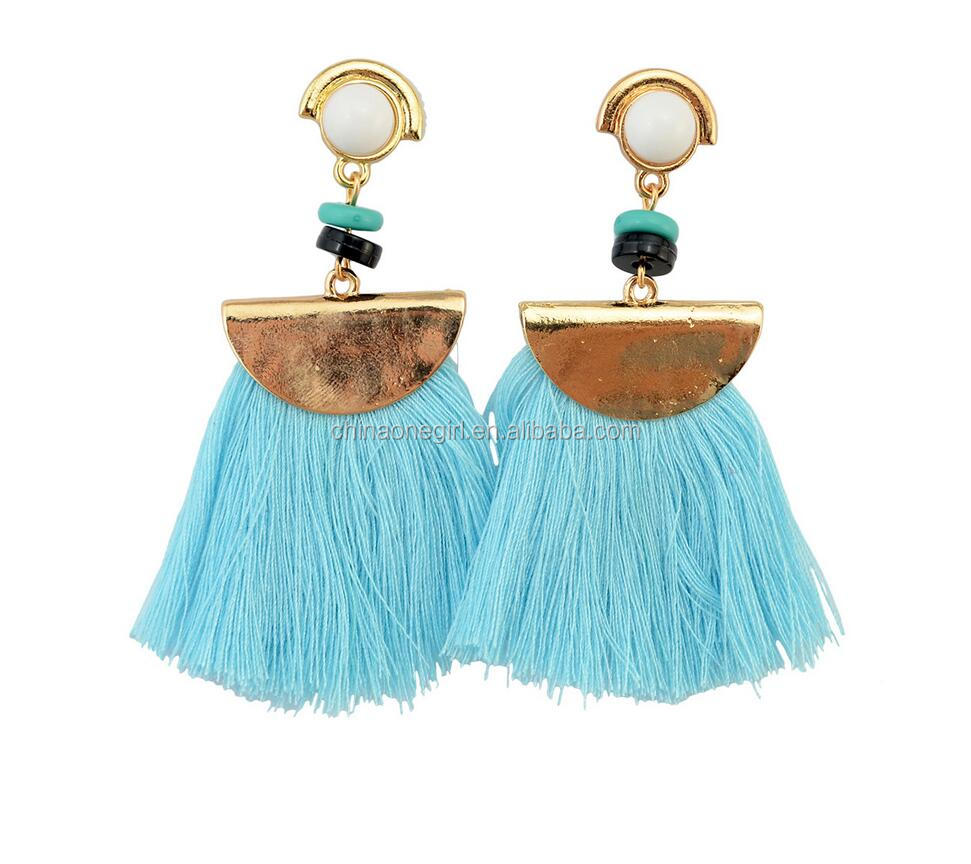 Thread Tassels Crescent Shape Drop <strong>Earrings</strong>