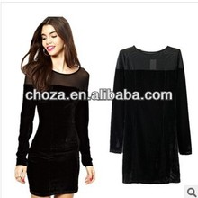 C60293A HOT SALE AUTUMN/WINTER EUROPEAN STYLE WOMAN'S SEXY SPLICING FASHION DRESS