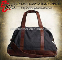 New 2013 Vintage Duffle Bag/Cotton fabric woolen travel bag with leather triming/Duffel handbag wholesale