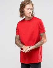 2016 High Quality Custom Back Printed Short Sleeve Crew Neck Red men's 100% Cotton 180gsm Longline Cut Casual Blank T-Shirt