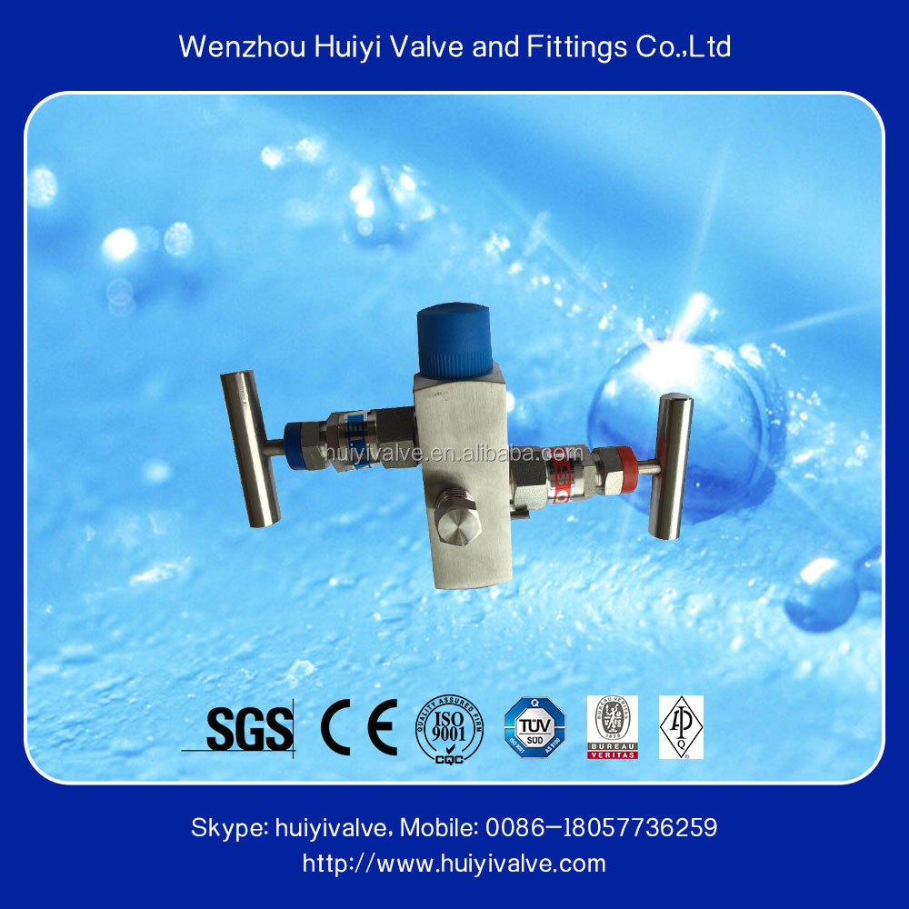 High pressure stainless steel water 2 valve manifold