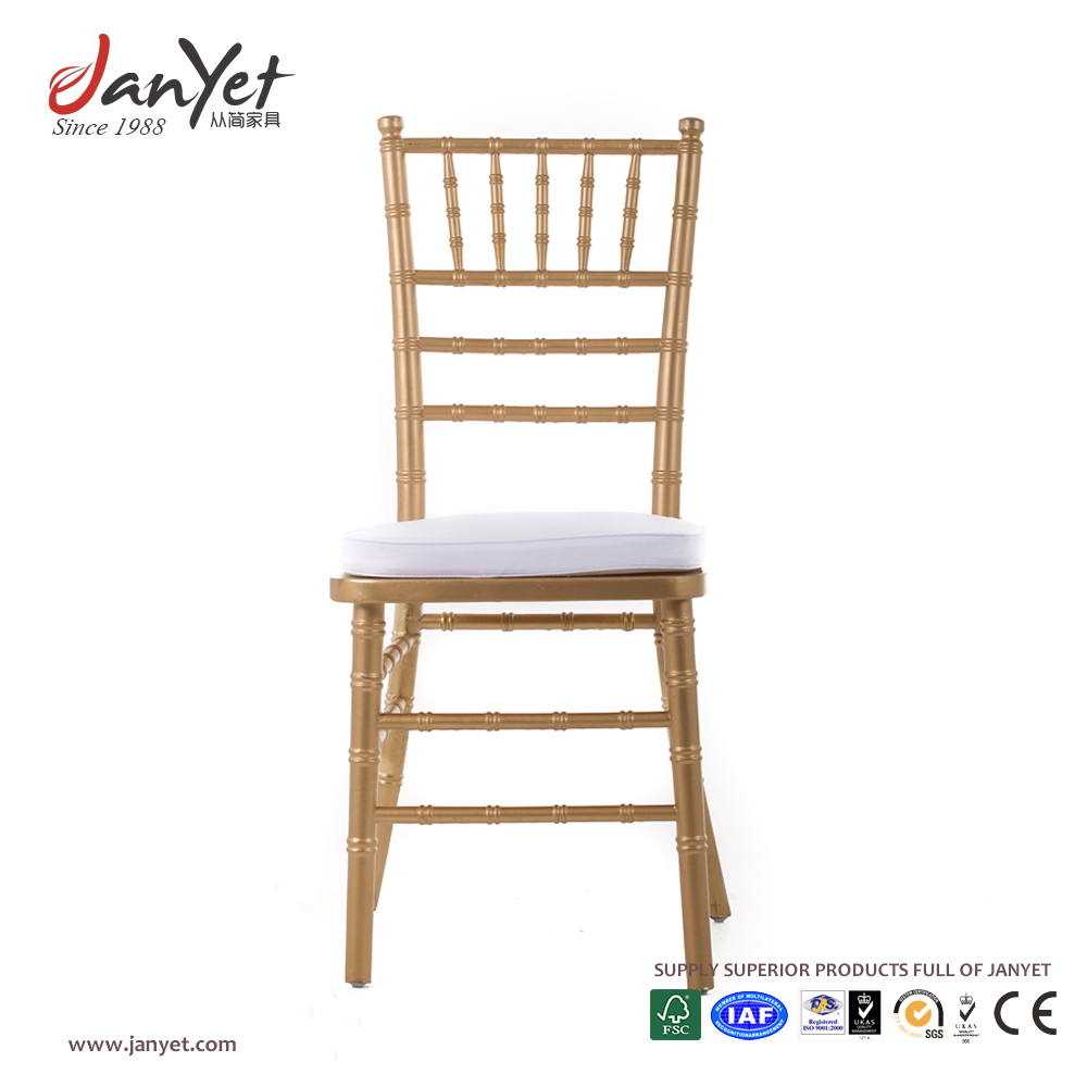 High quality resin tiffany wedding stackable chiavari gold chair