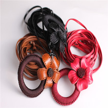 new design flower decorated PU leather belts without hole
