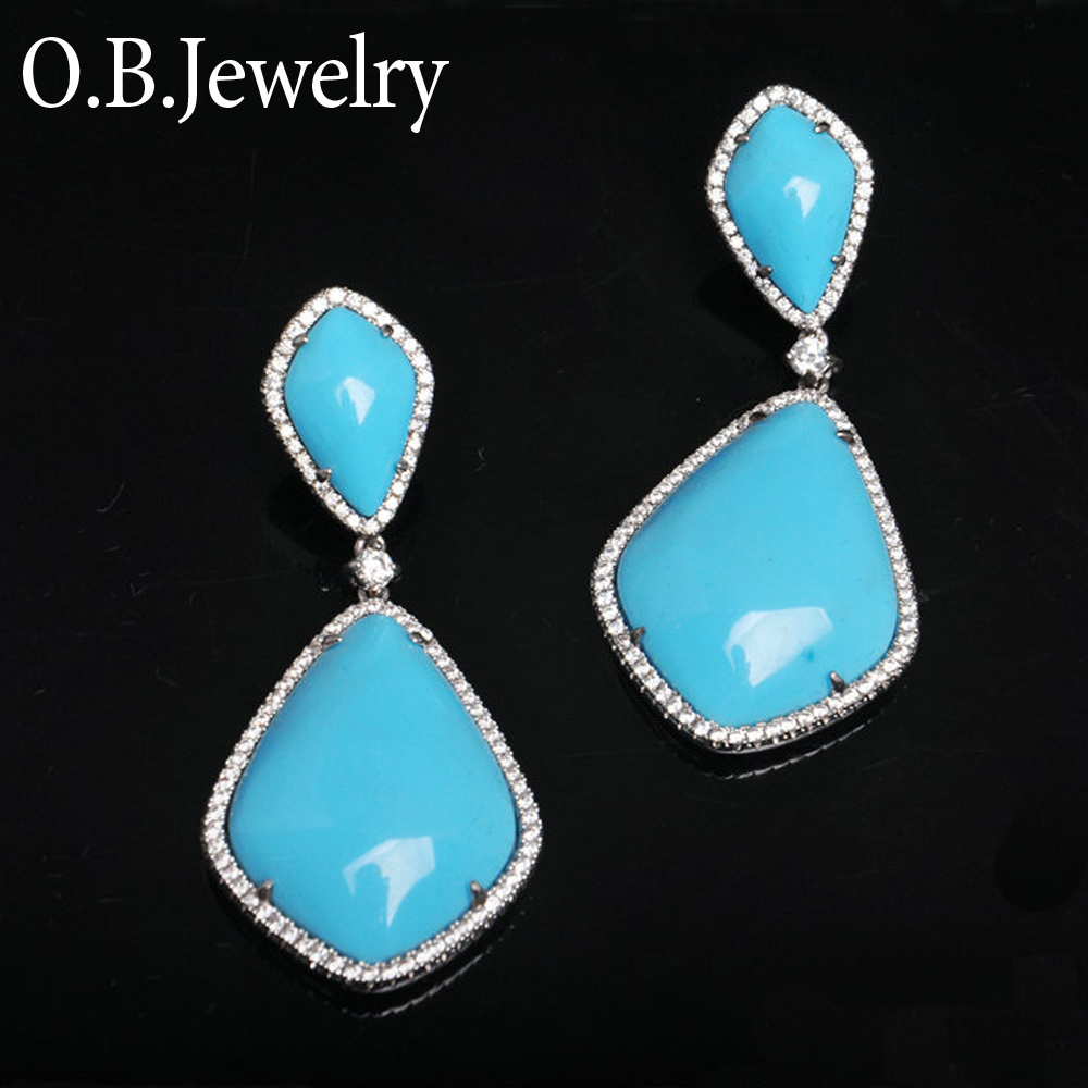 Handmade Big Size Turquoise Earrings Jewelry Brazil Style Artificial Gemstone Jewelry