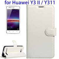 Shenzhen Wholesales Litchi Texture Horizontal Flip Leather Case for Huawei Y3 II, Cover Case for Huawei Y311