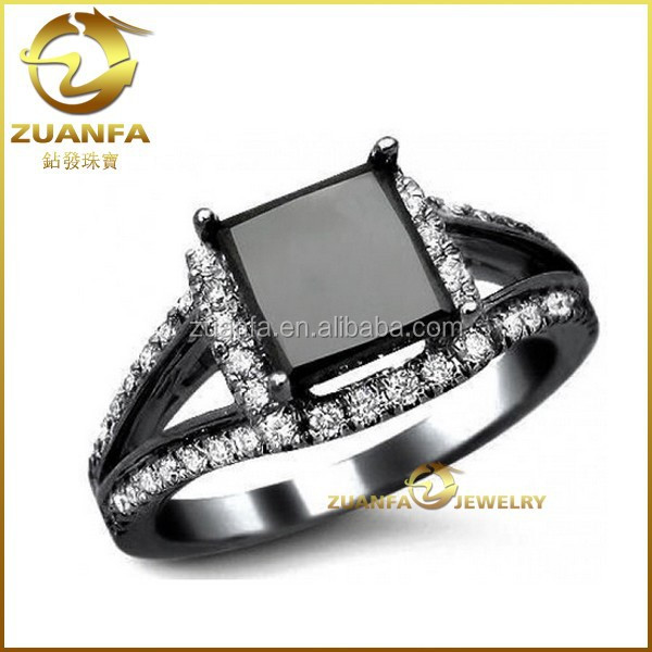 Wedding Ring 3.14 ct Black Diamond Princess Cut Engagement black diamond rings canada