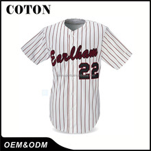 OEM logo print full stripe button down baseball jerseys With Long-term Service