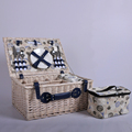 4 persons Folk Art Style willow picnic hamper with cooler bag and picnic rug picnic basket set