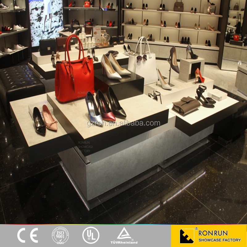 High end shoe store interior decoration customized wall display showcase with shelves