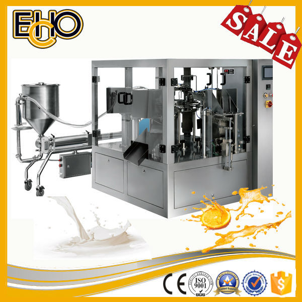 Good rating ultra smart bag counting stainless full automatic rotary stand up bag soy sauce filling equipment