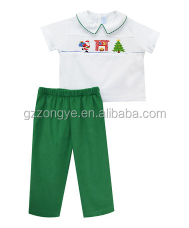 Lower price casual white short sleeve shirt and red pant for 2-6 years