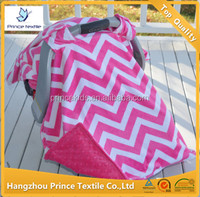 Baby Canopy Infant Pink Chevron Minky Sun Protection Car Seat Cover