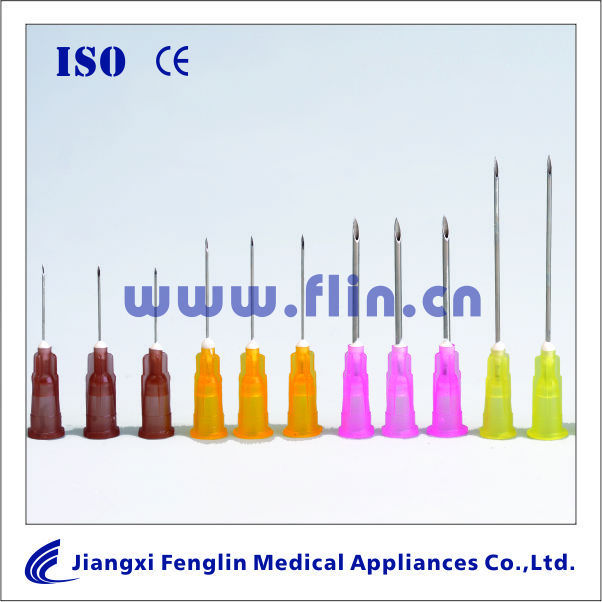 Disposable hypodermic needles with different sizes