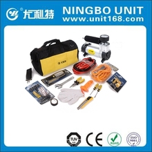 Portable car emergency tool kit with air compressor