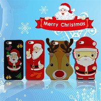 3D Cute Christmas Santa Claus cell phone case Soft Silicone Case Cover Protective Skin for Apple iPhone 5 5S cell phone case