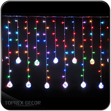 2.5m 208 LEDs Round ball string curtain lights Icicle lights with dimmer remote control
