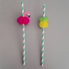 Pineapple decoration and flamingo ornament novelty fancy PAPER drinking straw