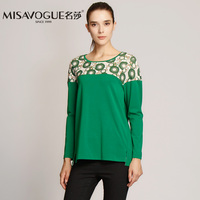 Mingsha misavogue counter genuine 003z023 circle pattern stitching design - women wear long sleeved T-shirt