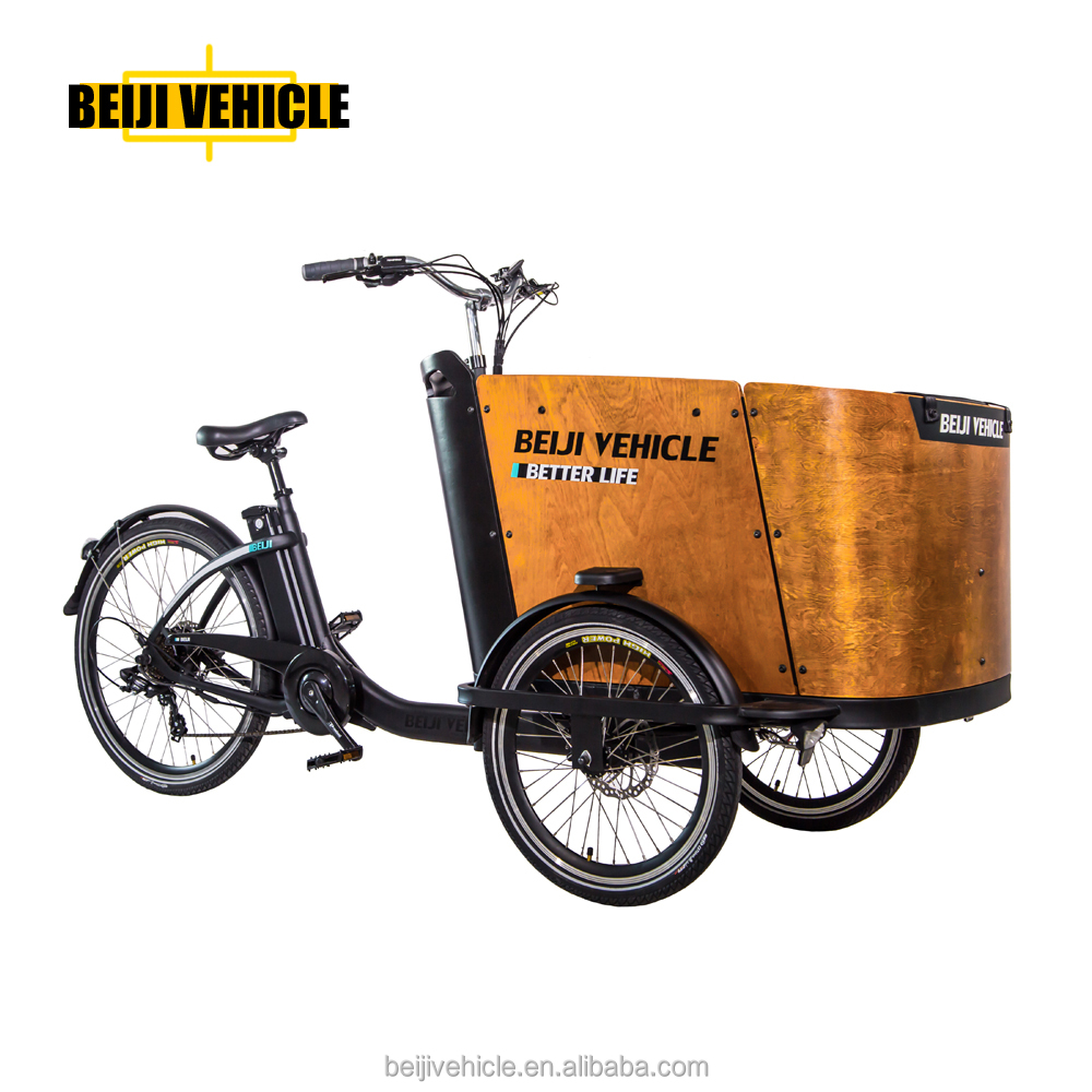 Beiji new model three wheel electric cargo bike/tricycle with arch wood case
