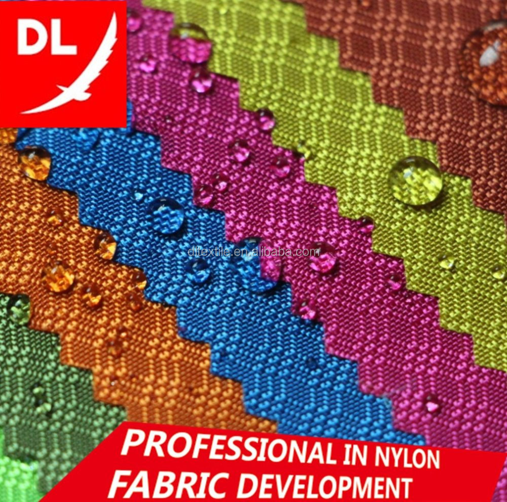 waterproof wholesale 210D ripstop jacquard <strong>nylon</strong> oxford fabric three-lines pattern PU coated