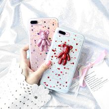 Glitter Crystal 3D Lovely Bear Soft TPU Bling Sparkle Phone Case for iPhone 7 plus 8Plus