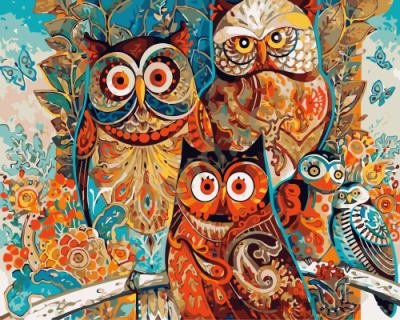 popular colorful owl paintboy canvas painting DIY digital paint by numbers