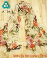 2012 fashion flower dyed 100% polyester shawls and scarves
