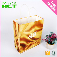 Fashion cheap custom logo printed paper shopping bag with cotton handle