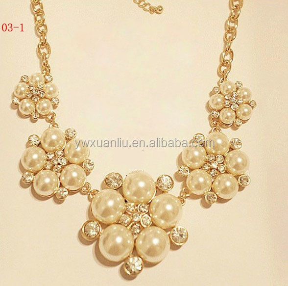 jy1036 2015 Fashion alloy necklace, wholesale yiwu latest design pearl necklace,statement necklace jewelry