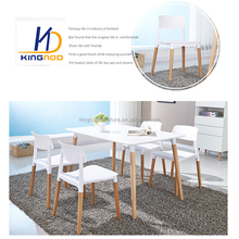 Classic Mdf Top Table Plastic Chair Wood Legs 1+4 Dining Room Set