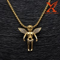 Hip-Hop Mens 14k Gold Plated Stainless Steel Lab Wings Angel Pendant Charm